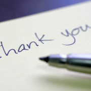 thank you written on paper after sale